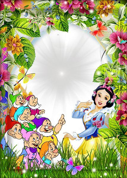 Convite com flores, Branca de Neve e os Sete Anões.
