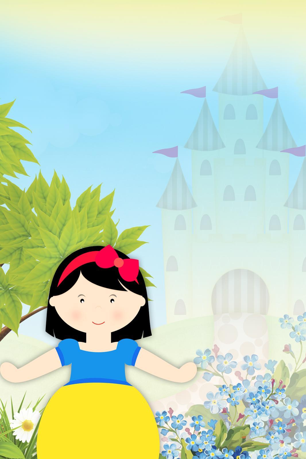 Desenho da Branca de Neve, com castelo atrás.