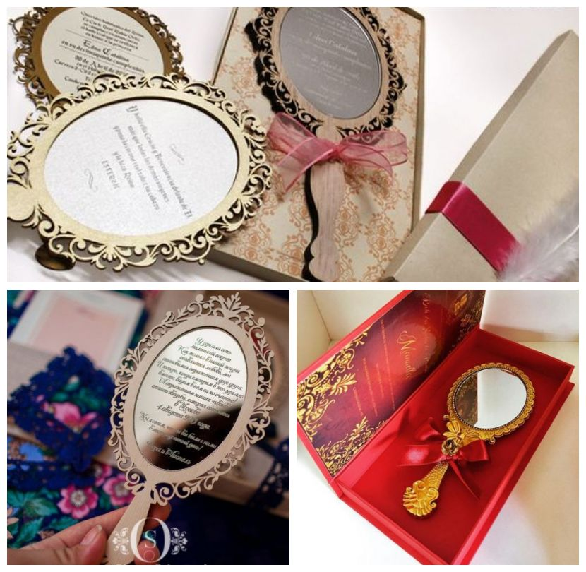 Montagem com diferentes convites Branca de Neve com formato de espelho.