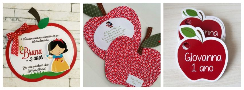 Montagem com três tipos de convites Branca de Neve com formato de maçã.