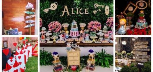 Montagem com cinco fotos de festa Alice no País das Maravilhas.