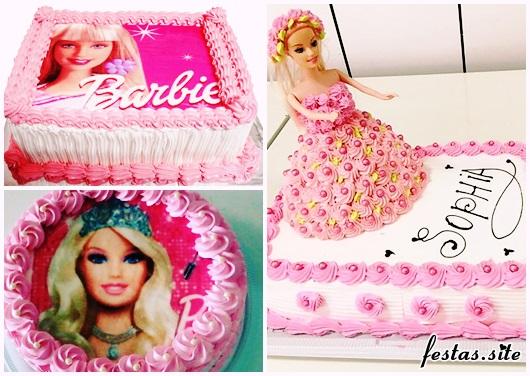 Bolo da Barbie modelos com chantilly rosa e branco