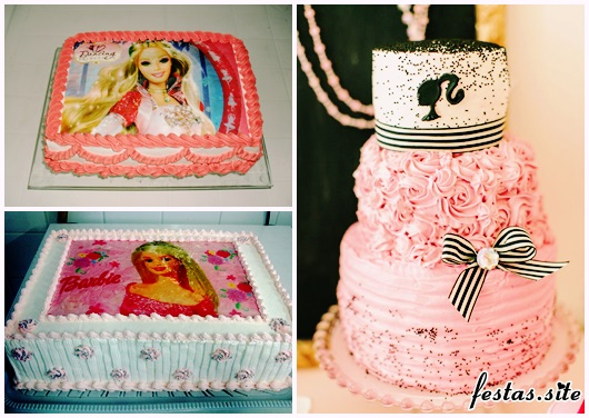 Bolo da Barbie modelos com chantilly quadrado e redondo