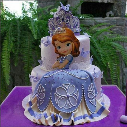 Bolo de Princesa modelo Princesa Sofia com 2 andares