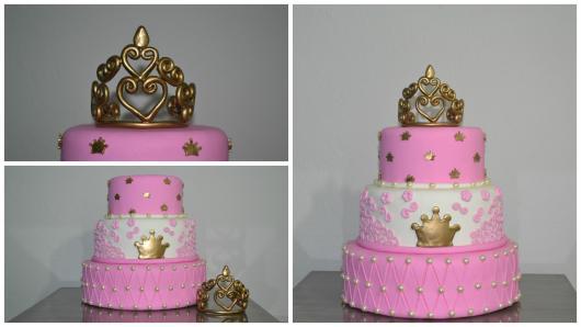 Bolo de Princesa modelos rosas e dourados