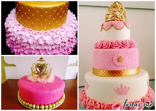 Bolo de Princesa modelos com detalhes dourados