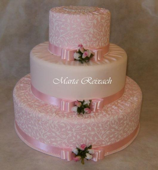 Bolo Fake Casamento de Tecido em tons de rosa