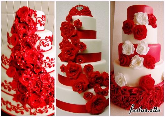 Bolo Fake Casamento modelos vermelho e branco