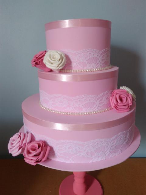 Bolo Fake Casamento EVA pink