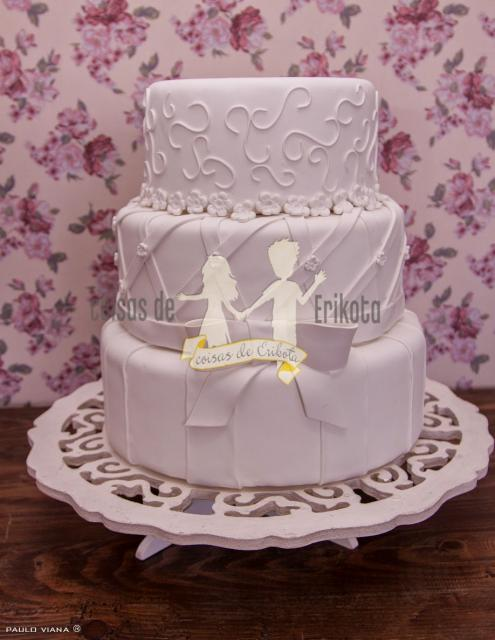 Bolo Fake Casamento de Biscuit lilás