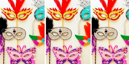 Como Fazer Máscara de Carnaval de papel com apliques coloridos