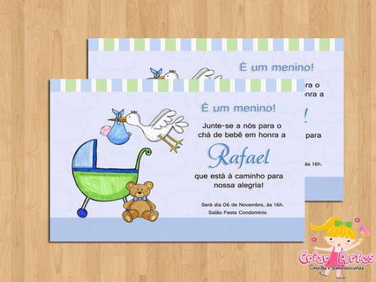 Convites Chá de Bebê Cegonha Menino