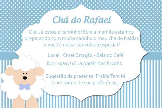 Convites Chá de Bebê Ovelhinha Menino