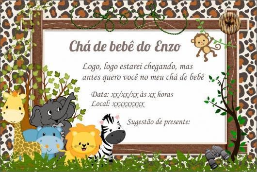 Convites Chá de Bebê Safari