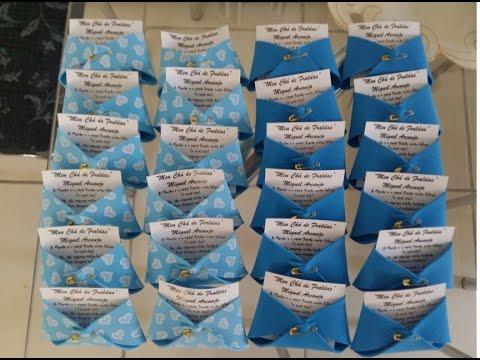 Convites Chá de Bebê de EVA em formato de fralda