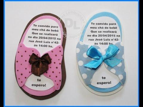Convites Chá de Bebê de EVA em formato de chinelo