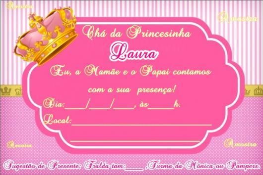 Convites Chá de Bebê Princesa na cor pink