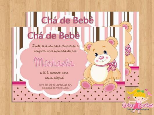 Convites Chá de Bebê Ursinha