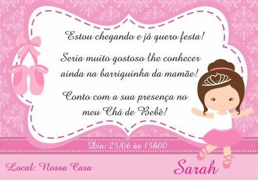 Convites Chá de Bebê Bailarina