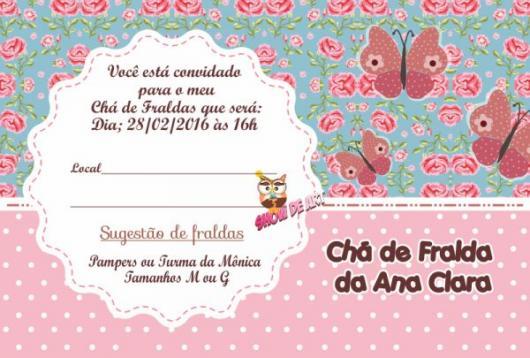 Convites Chá de Bebê Borboleta