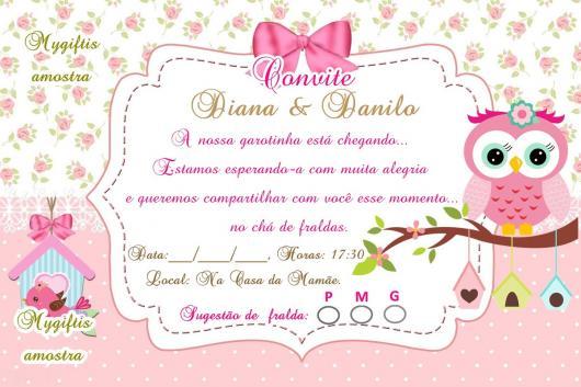 Convites Chá de Bebê Corujinha