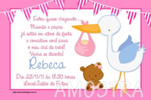 Convites Chá de Bebê Cegonha Menina