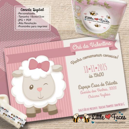 Convites Chá de Bebê Ovelhinha Menina