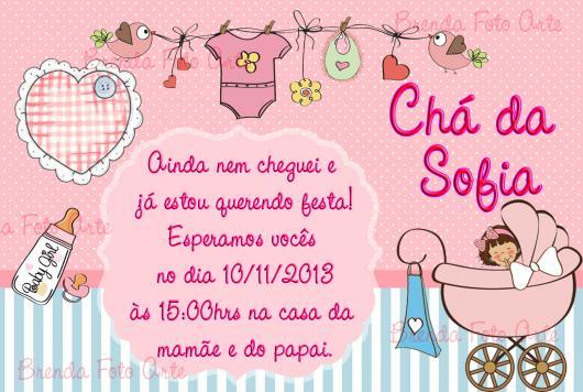 Convites Chá de Bebê Simples Menina