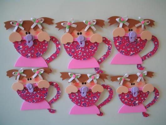 Convites Chá de Bebê de EVA para Menina em formato de xícara