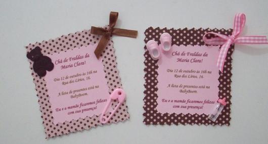 Convites Chá de Bebê Com Tema Rosa e Marrom para Menina
