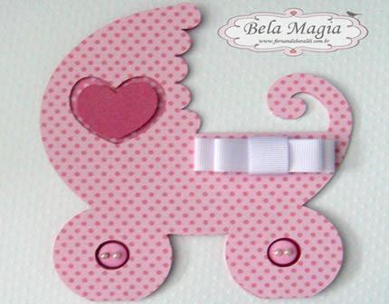Convites Chá de Bebê de EVA para Menina em formato de carrinho