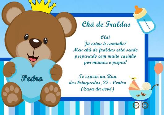 Convites Chá de Bebê Urso Príncipe