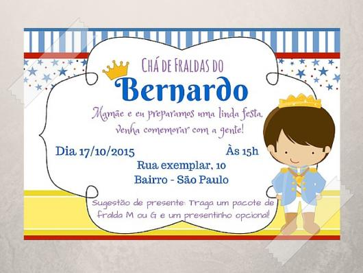 Convites Chá de Bebê Príncipe