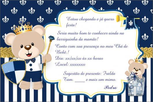 Convites Chá de Bebê Urso