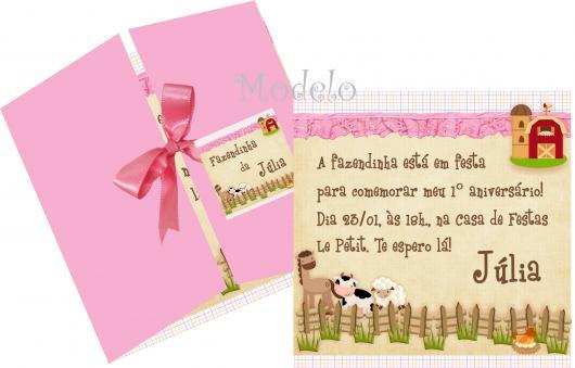 Convites Fazendinha janela rosa com lacinho de fita de cetim rosa