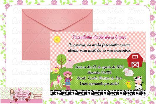Convites Fazendinha rosa com envelope rosa