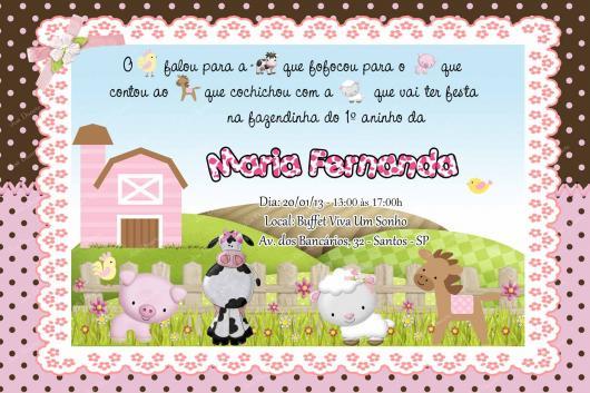 Convites Fazendinha cartão rosa e marrom