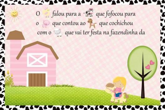 Convites Fazendinha cartão rosa com estampa de fazenda