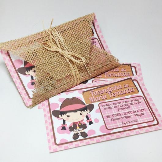 Convites Fazendinha rosa com juta