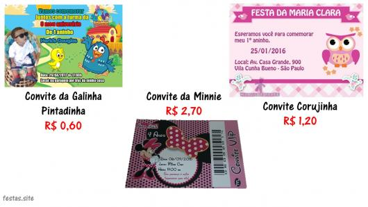 Links para comprar  Convite da Galinha Pintadinha   Convite da Minnie    Convite Corujinha 582bf46e0565f
