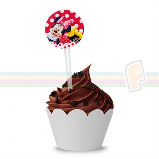 Cupcake de Chocolate com cobertura e topper da Minnie