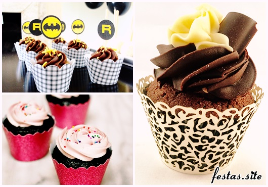Cupcake de Chocolate modelos de Wrappers Batman, arabesco e vermelho lisa