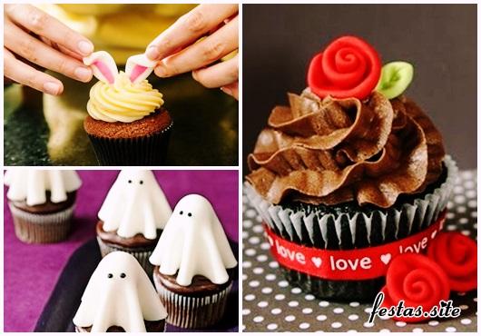 Cupcake de Chocolate modelos decorados comn apliques de pasta americana coelho, fantasma e rosa
