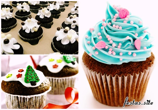 Cupcake de Chocolate modelos decorados com chantilly e glacê