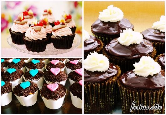 Cupcake de Chocolate modelos decorados com ganache e chantilly
