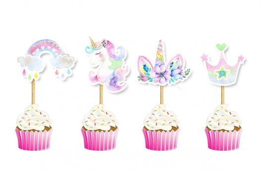 Cupcake de Unicórnio topper modelo de unicórnio, arco-íris, chifre e coroa