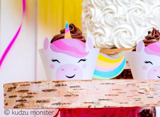 Cupcake de Unicórnio modelo de wrapper