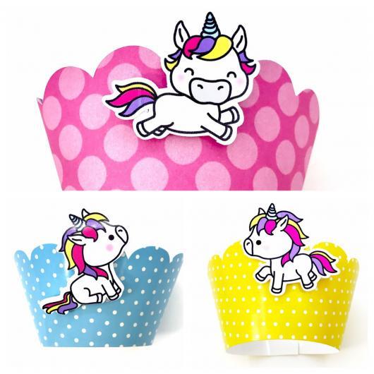 Cupcake de Unicórnio modelo de wrapper modelos rosa, azul e amarela