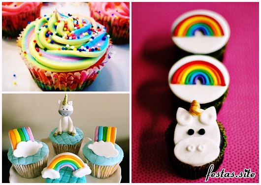 Cupcake de Unicórnio modelos de arco-íris