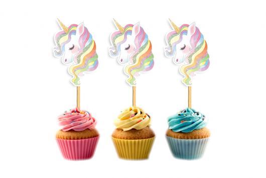 Cupcake de Unicórnio topper de unicórnio arco-íris